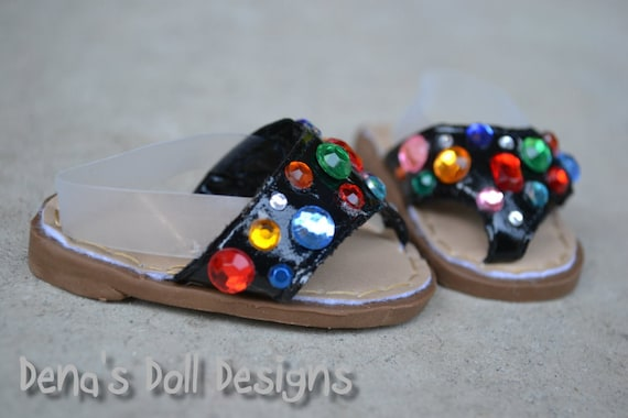 Doll shoes for American Girl --The Blingier the Better rhinestone flip flop sandals