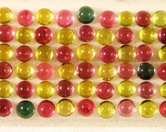 Tourmaline Pebble Cabochon Bracelet Set, Multi color Dots, cobblestone