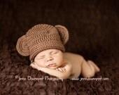 Custom crocheted baby monkey hat