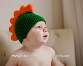 Custom crocheted baby dragon/dinosaur hat