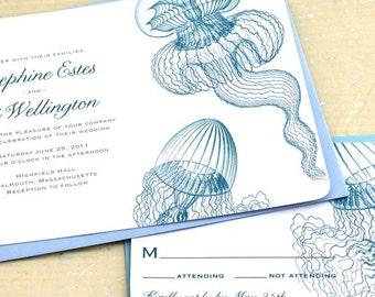 Jellyfish Wedding Invitations, Beach Wedding Invitations, Aquarium Wedding Invitations, Ocean Wedding Invitations, Boho Wedding Invites
