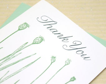 Grass Stalks Thank You Notes - Set of 8