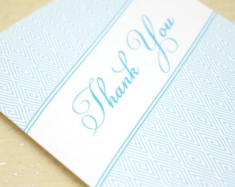 Blue Script Thank You Notes - Set of 8
