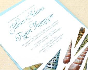 Spiral Seashell Wedding Invitations, Ocean Wedding Invitations