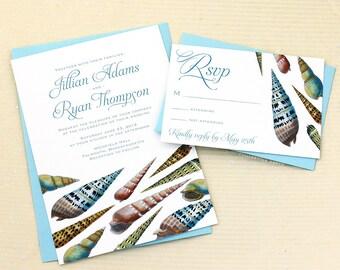 Boho Wedding Invites, Boho Beach Wedding, Beach Wedding Invitations, Seashell Wedding Invitations, Shell Wedding Invites, Sea Wedding Invite