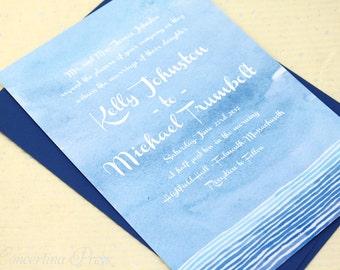Watercolor Ocean Wedding Invitations in Blue, Beach Wedding Invitation