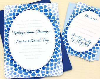 Blue Mosaic Watercolor Wedding Invitations  - Sample