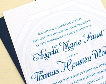 Art Deco Wedding Invitations - Sample - Navy Blue and White with Nautical Maritime Compass