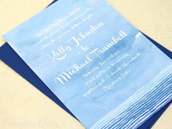 Watercolor Wedding Invitations, Blue Watercolor Invitations, Ocean Watercolor Invites, Blue Wedding Invitation, Painted Wedding Invite Suite
