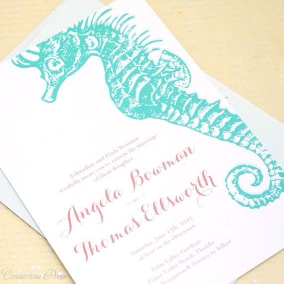 Beach Wedding invitation, Tropical Wedding invitation, destination Wedding, Seahorse Wedding, Invite, Invitation set, Invitation suite