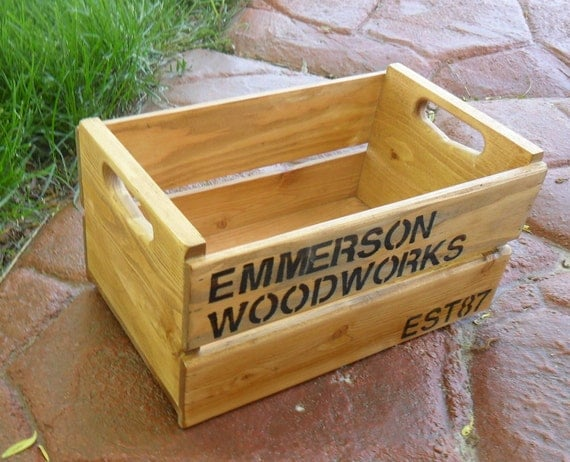 Custom Stenciled Wooden Gift Crate Peck Size