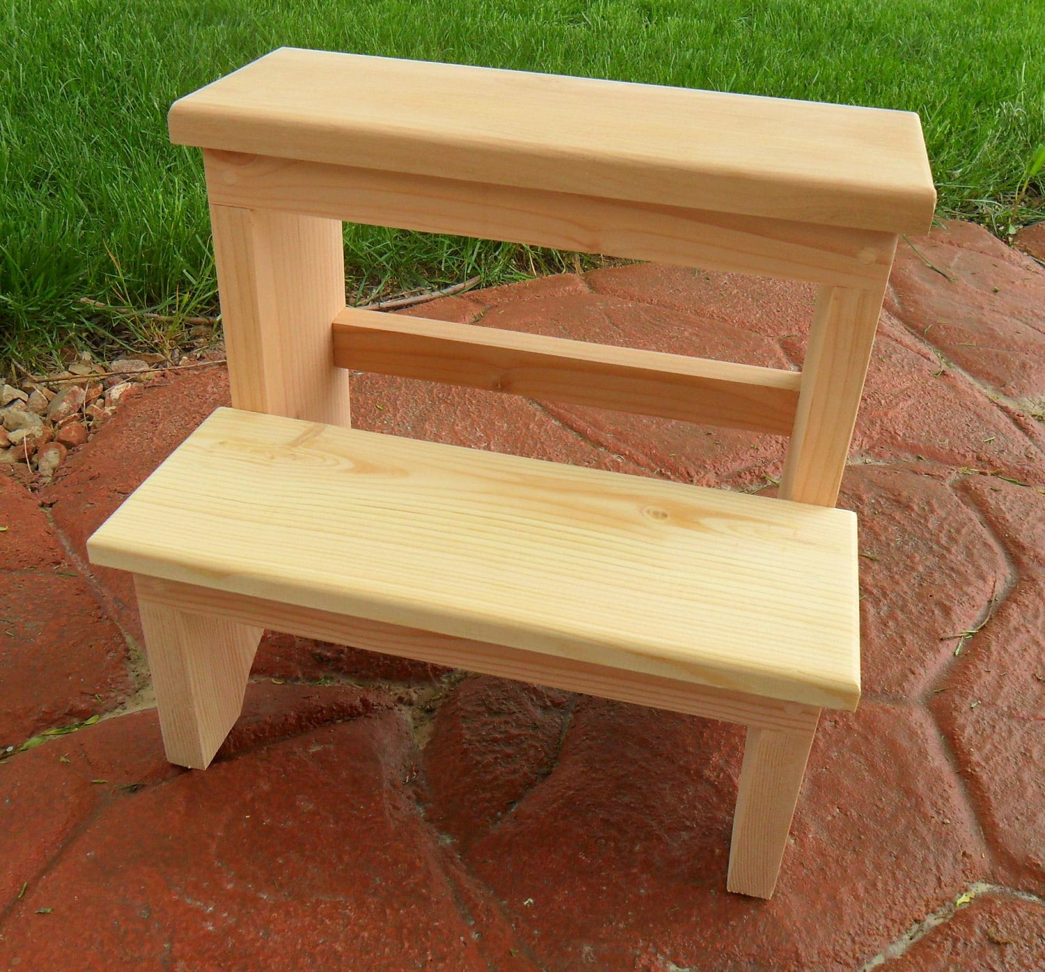 Handcrafted Shaker Inspired Wooden Step Stool Unfinished