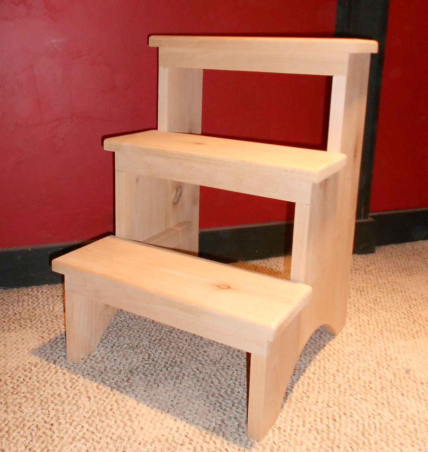 Rustic Alder 3 Step Stool By Emmersonwoodworks On Etsy