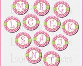 """1.25"""" Pin Back Buttons - Set of 12 - Pink and Green Alphabet - 1.25 inch (31mm) - pinback buttons - initials - 1 1/4"""