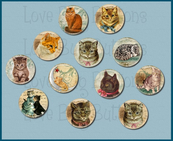 Vintage Cats - Set of 12 Buttons - Pin Back, Flat Back, or Hollow Back