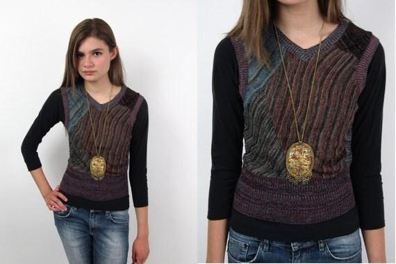 SALE - Vintage 70s Knit Top / 70s Vest / Boho Spaced Dyed knit vest