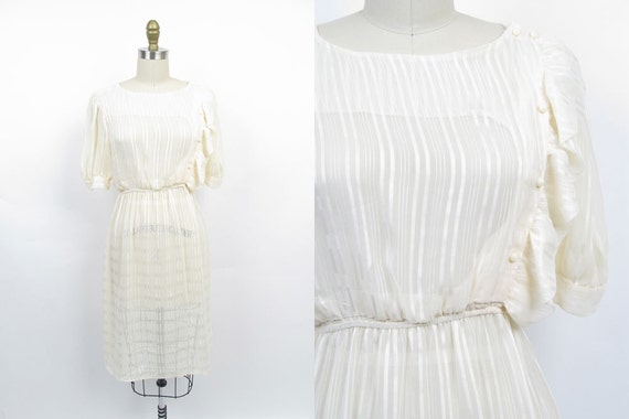 Vintage 70s Dress / Secretary Dress / Cream Chiffon Dress
