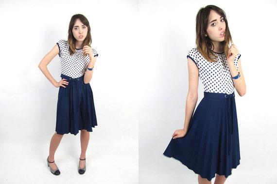 Vintage 1960s Dress - Mod Dress - Polka Dot Nautical Dress