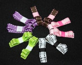 Pigtail Package: Stitched With Love - Set of 5 stitched grosgrain ribbon bow hair clips