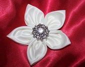 White Satin Flower Clip with Crystal Embellishment