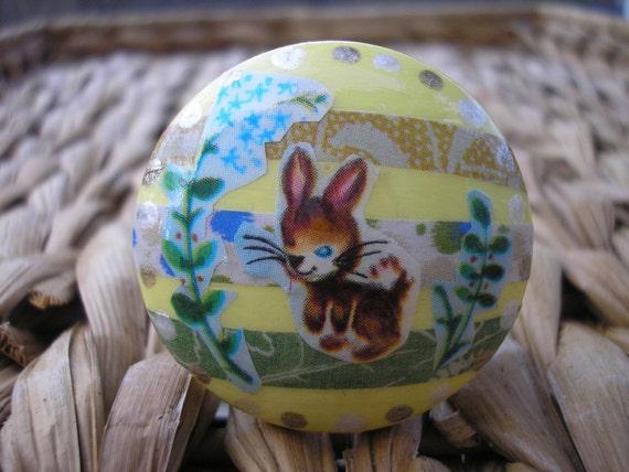 Bunny Rabbit Decoupage Knob, Drawer Pull, OOAK