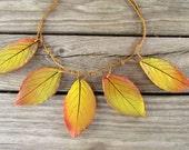 Autmn leaf necklace - mustard yellow brown burgundy