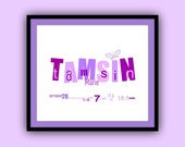 Custom made birth announcement print nursery art or baby shower gift LOWERED PRICES