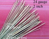 25 pcs, 24g Sterling Silver Flat End Headpins, 2 inch