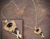 Chinese Writing Stone & Sterling Silver Necklace