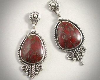 Tapestry - Red Brecciated Jasper & Sterling Silver Earrings