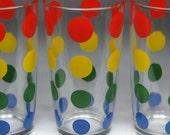 vintage HAZEL ATLAS polka dot glasses possibly sour cream