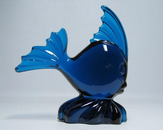 vintage VIKING glass fish  1301 bluenique dark blue streamlined mid century modern moderne