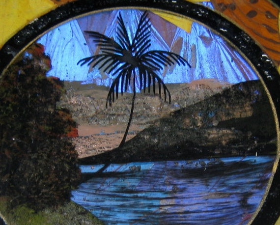 vintage BUTTERFLY WING DISH made in brazil palm tree scenic