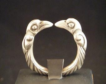 Viking Raven Ring torc / viking jewelry / torc / nordic / Odin's Raven / unique engagement ring/ mens jewelry