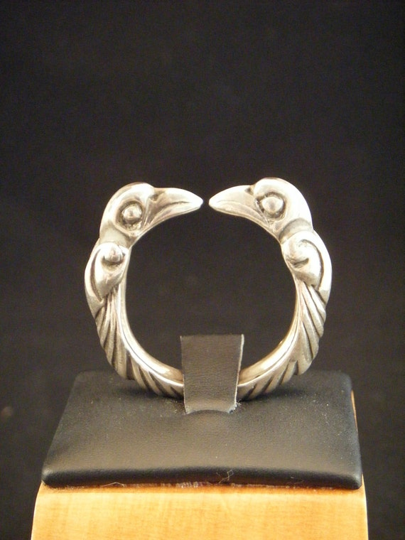 Viking Ring Odin Raven in Sterling Silver torc / viking jewelry / torc / nordic / celtic / unique engagement ring/ mens jewelry