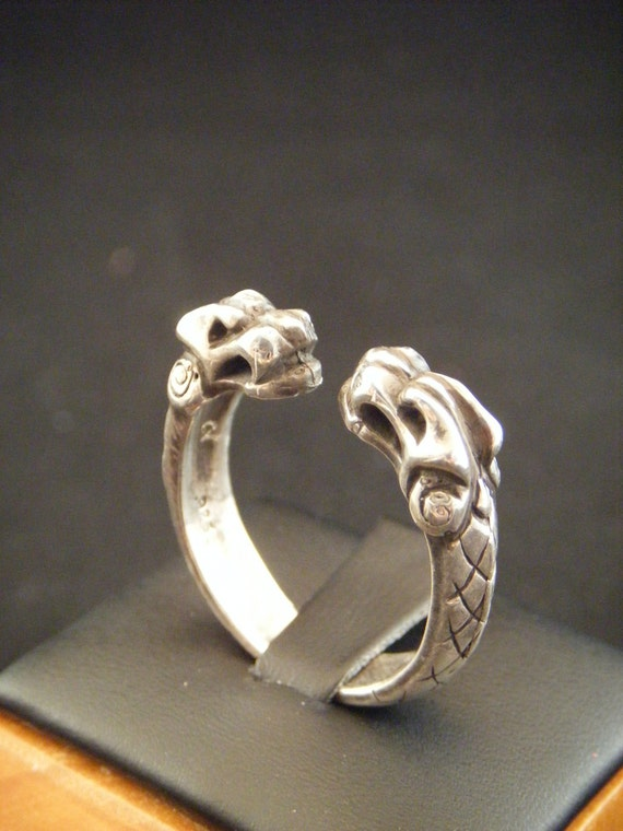 Viking Norse Wolf Torc Ring Cast in Sterling Silver