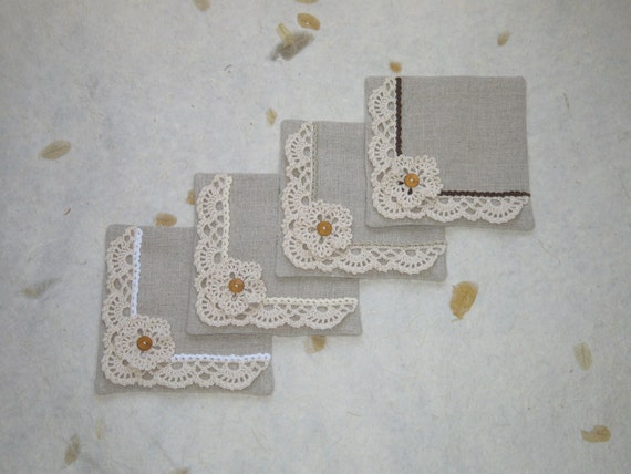 Linen & Cotton fabric coaster set : Flower and lace
