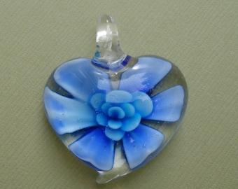 Lampwork Pendant, Heart Flower , Murano Best Price.