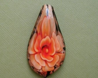 Murano Inner Flower, Lampwork Glass Pendant, Teardrop, (50x28x10)mm.