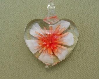 Murano Lampwork Pendant, Heart Flower , Best Price.