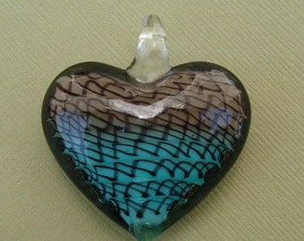 Murano Lampwork Glass, Pendant, Heart, (40x38x15)mm.