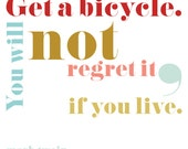 """typographic quote - bicycles - from Mark Twain's """"Taming the Bicycle"""" - fine art print - 8x10"""""""