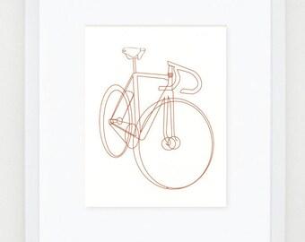 "bike bicycle sketch illustration - silkscreen print - 8x10"""