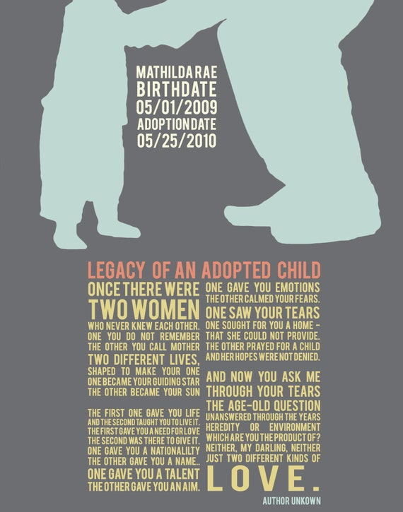 """Legacy of an Adopted Child - Poem with Custom Silhouette & Name of Child - 8x10""""  fine art print"""