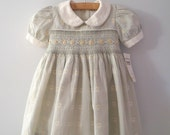1970's Pale Green and Ivory Floral Smocked Dress