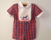 "1970's Navy and Red Plaid ""Rocking Horse"" Romper - BabyTweeds"