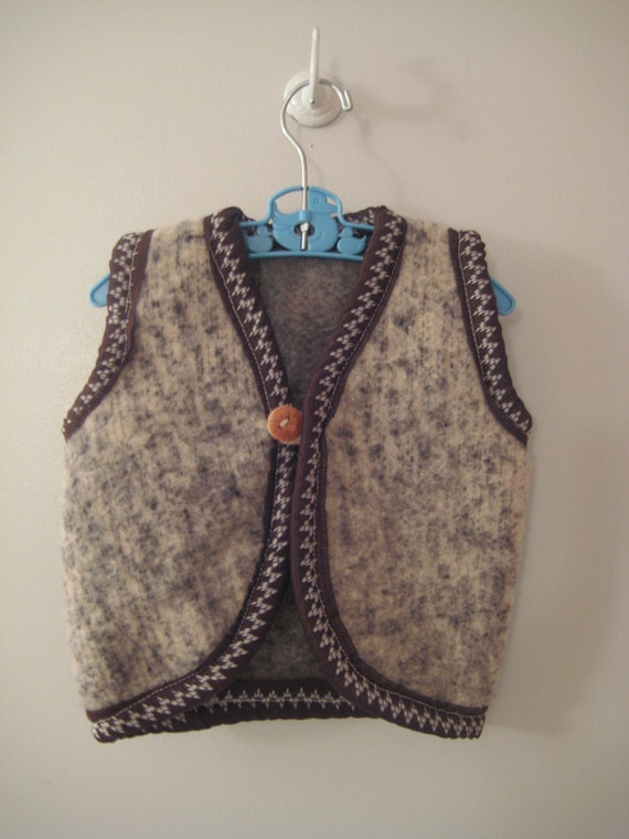 1970's Rustic Handmade Brown and Black Wool Vest