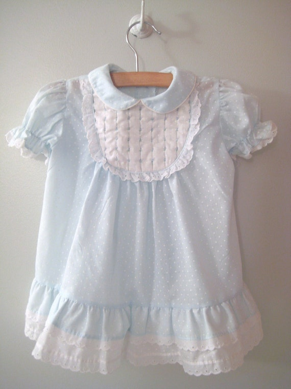 1960's Light Blue and White Polka Dot Lace Dress