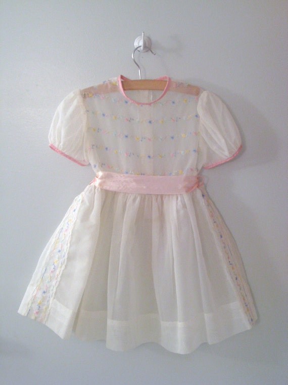 "Reserved - 1950s Ivory and Pink Dotted Swiss Embroidered Flower ""Princess"" Dress"