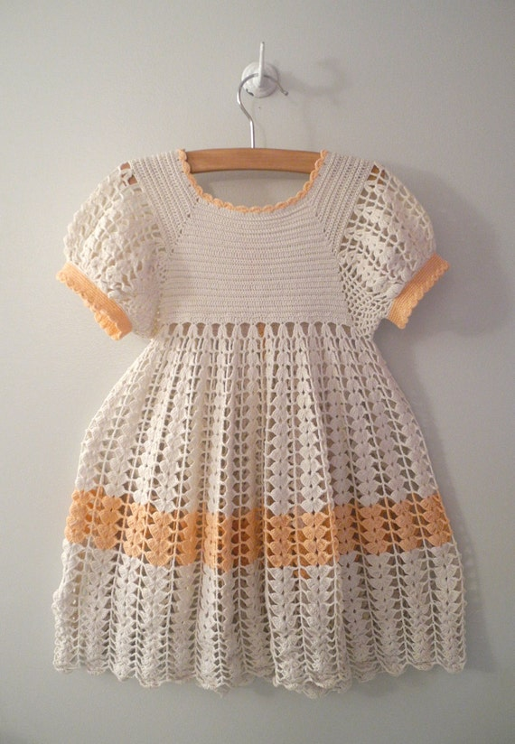1940's Handmade Ivory and Pink Crocheted Dress